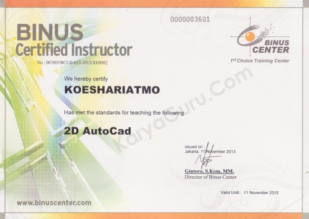 2D AutoCAD Binus Certified Instructor