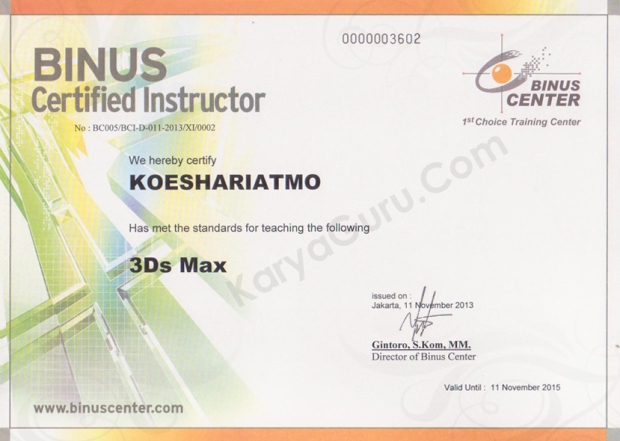 3DSMAX Binus Certified Instructor