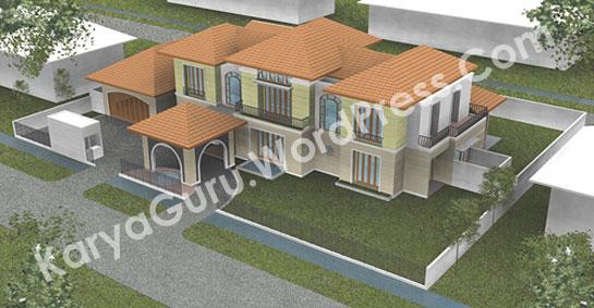 3D Model Desain Rumah Tropis 2 Lantai