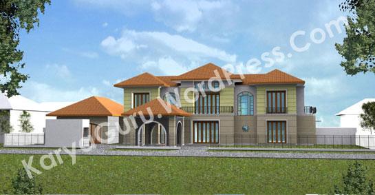 Tampak Depan Desain Rumah Tropis 2 Lantai