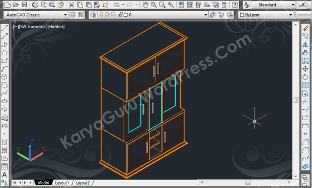 autocad wireframe cabinet