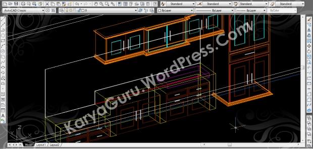 autocad wireframe kitchen set