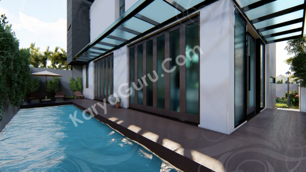 Desain arsitektur kolam renang taman belakang