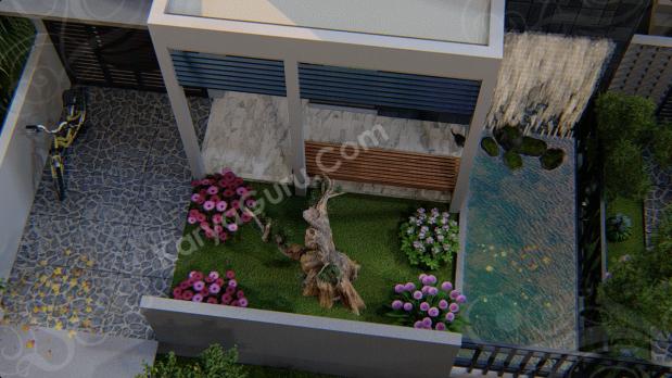Jasa 3D Rendering Modeling Animation Architecture Taman Rumah Minimalis