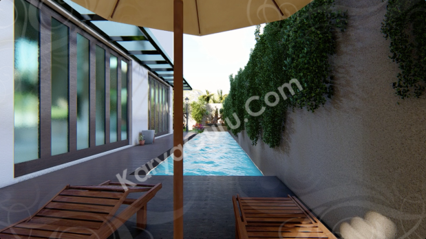 Swimming Pool Area Minimalist House Design