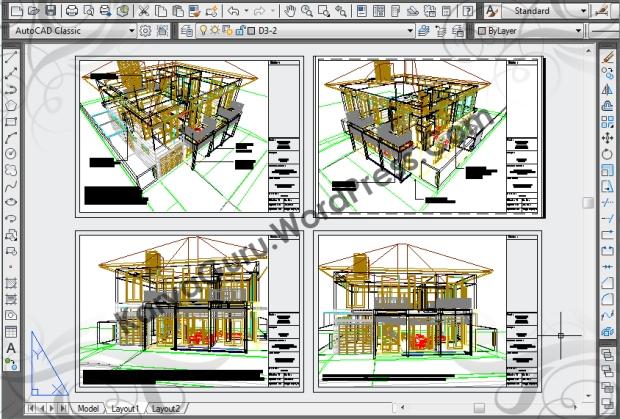 3D Modeling AutoCAD Rumah Tinggal Bertingkat 2 Lantai di daerah Bogor