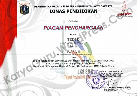 Piagam Penghargaan Autocad Lks Smk Dki Jakarta Karya Guru