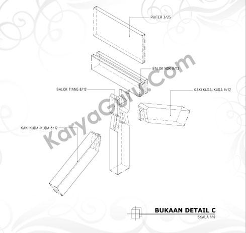 Gambar LKS AutoCAD Bukaan Detail Kuda-Kuda