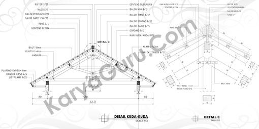 Gambar LKS AutoCAD Detail Kuda-Kuda