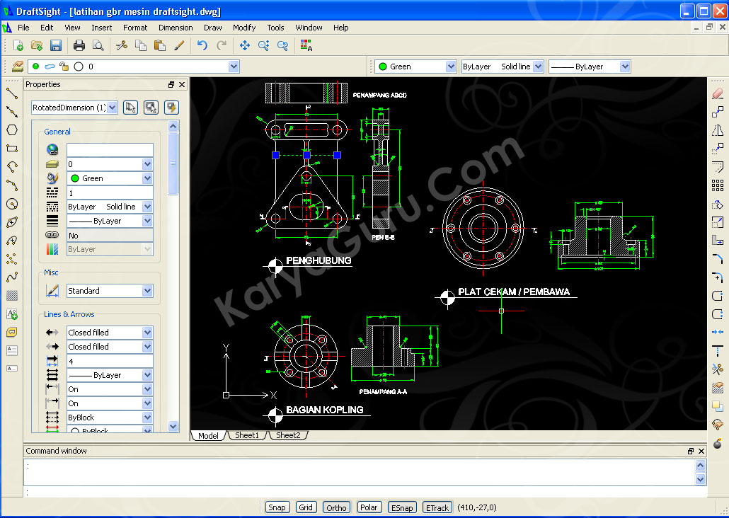 Menggambar part mesin dengan software cad gratisan for File cad di casa