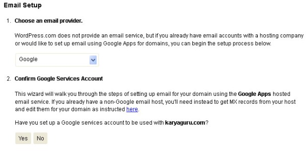 Wordpress  Email Setup Google
