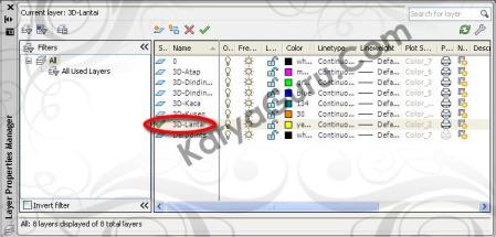 Layer 3D Lantai AutoCAD