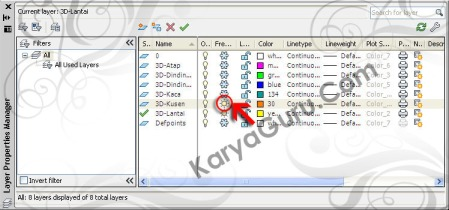 Layer 3D Kusen AutoCAD