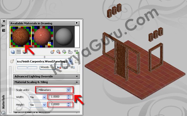 12. Scaling & Tiling – Material KusenAutoCAD