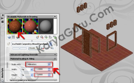 Scaling & Tiling - Material Kusen AutoCAD