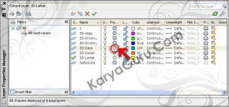 Layer 3D Kaca AutoCAD