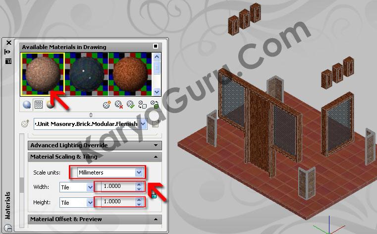 19. Scaling & Tiling – Material Batu AlamAutoCAD