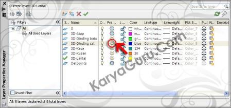 Layer 3D Lantai Dinding AutoCAD