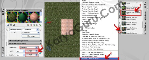 Material Apply to Object Rumput AutoCAD