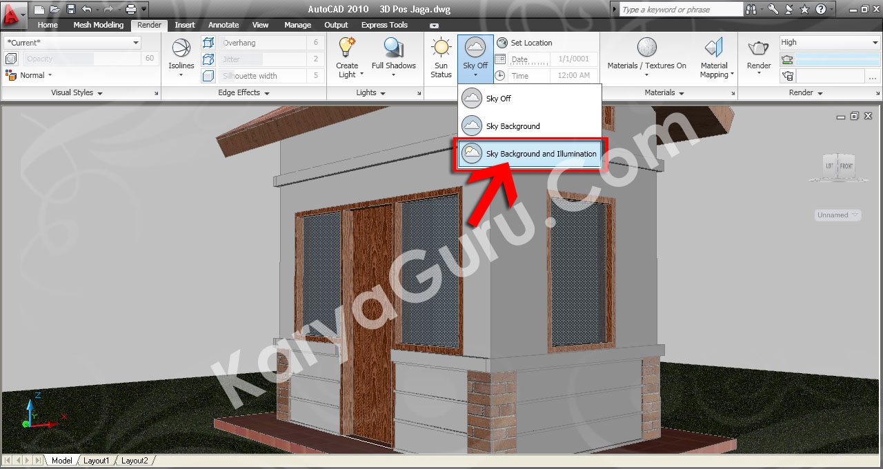 30. Sky Background and Illumination AutoCAD