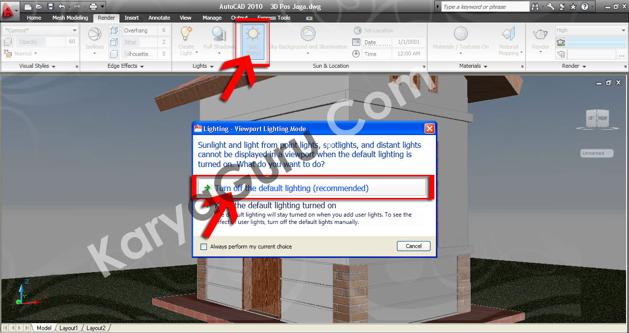 31. Sun Status – Turn off the default lighting AutoCAD