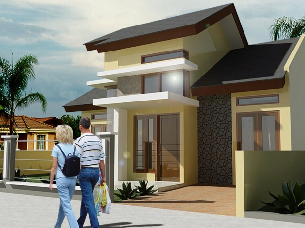 render autocad rumah edit tambah background orang pohon
