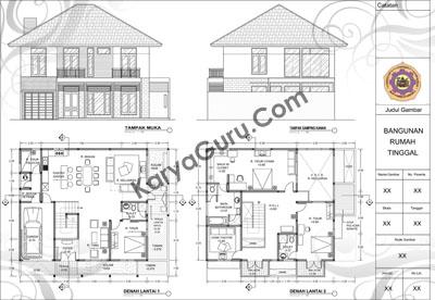 700+ Gambar Denah Rumah 2 Lantai Autocad Terbaik