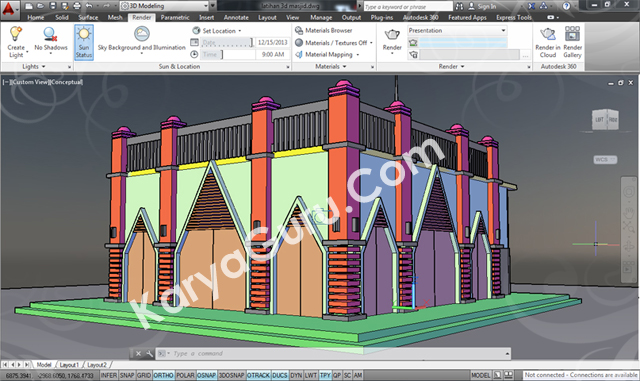 latihan 3d model autocad