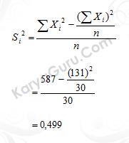 02. Nilai Varian Butir Instrumen Variabel X1 Nomor 1