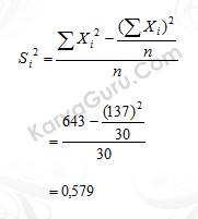 02. Nilai Varian Butir Instrumen Variabel X2 Nomor 1