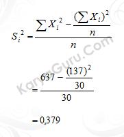 02. Nilai Varian Butir Instrumen Variabel X3 Nomor 1