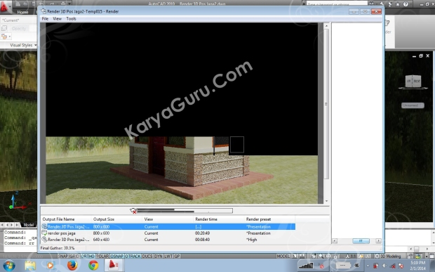 Proses Final Gather Render Autocad 2010 - awal