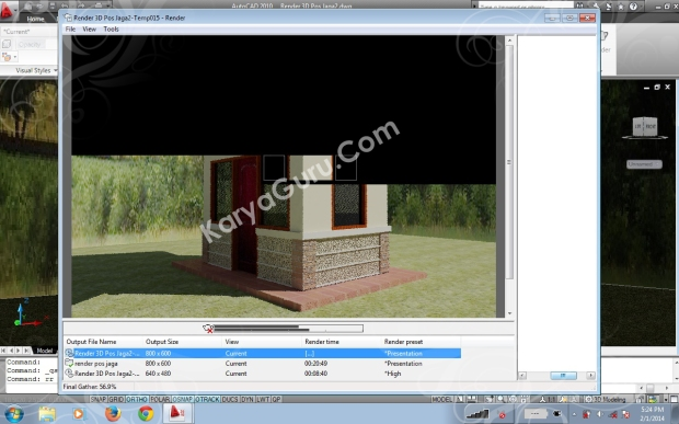 Proses Final Gather Render Autocad 2010 - tengah