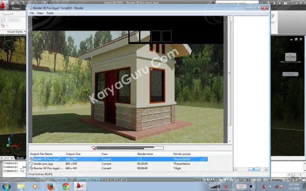 Proses Final Gather Render Autocad 2010 - akhir