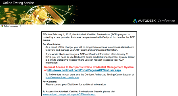 Halaman Website autodesk.starttest.com closed - move Autodesk Certification Professional