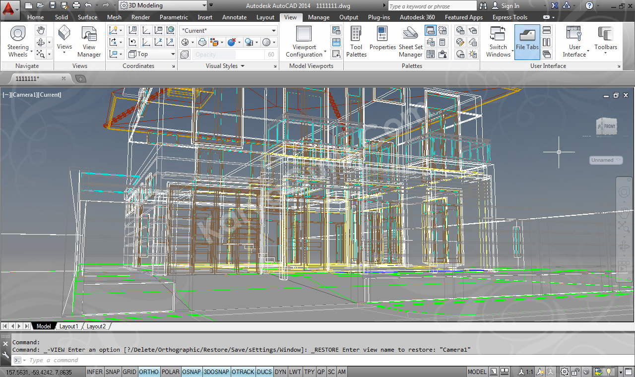 Render AutoCAD Exterior 2D Visual Style 2D WireFrame