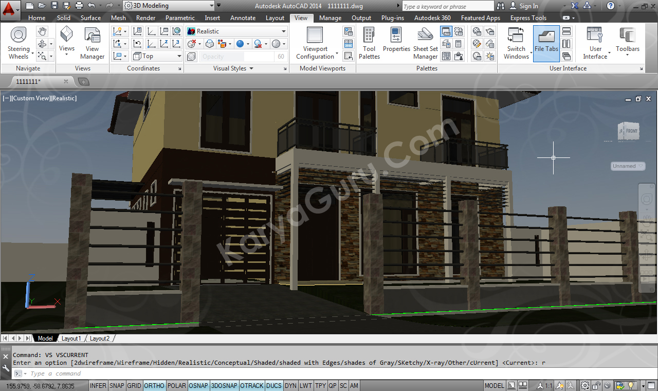 Render AutoCAD Exterior 2D Visual Style Realistic