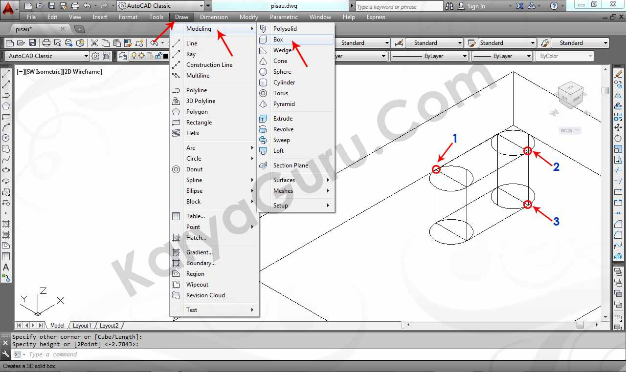 how to draw 3d box in autocad 2014