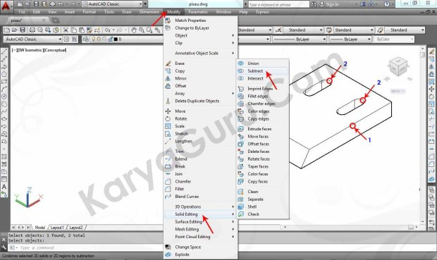 10 Tutorial AutoCAD Pisau Crusher - Subtract
