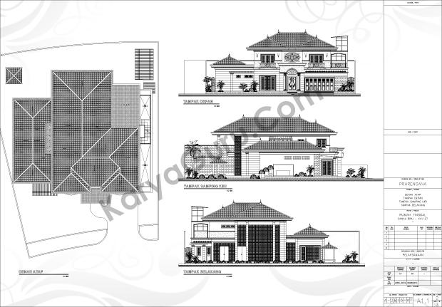 Gambar Kerja AutoCAD Tampak Rumah 2 Lantai