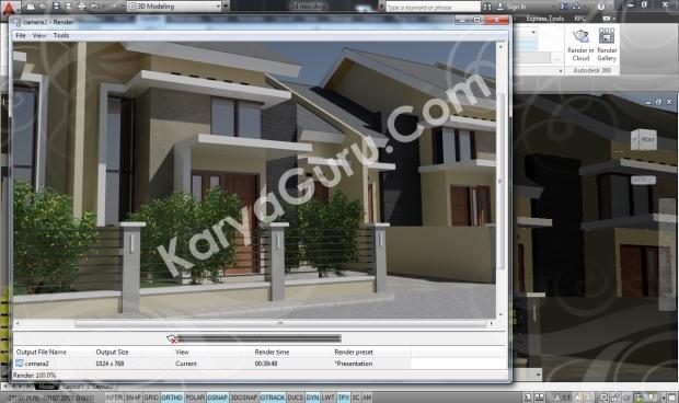 Kursus AutoCAD 3D Rendering Perumahan Modern Camera 2