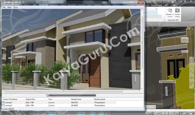 Kursus AutoCAD 3D Rendering Perumahan Modern Camera 3