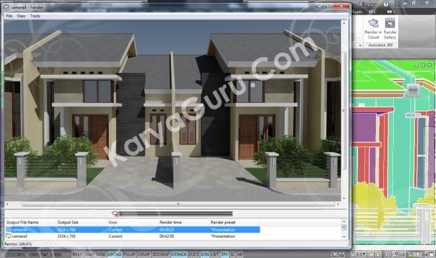 Kursus AutoCAD 3D Rendering Perumahan Modern Camera 4
