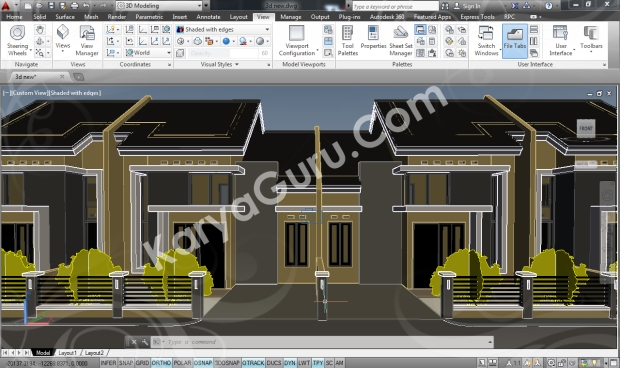 Kursus AutoCAD 3D Shaded With Edges Camera 4