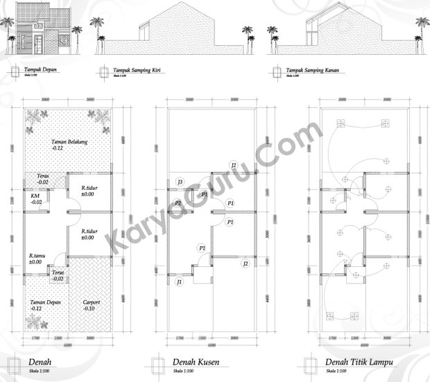 Gambar Desain Rumah Minimalis Dwg  denah tampak rumah minimalis karyaguru center
