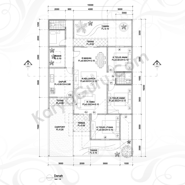 Kursus Denah AutoCAD 2D Arsitektur Hotel Ibis Tamarin
