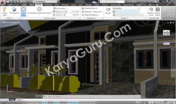 Rumah Minimalis AutoCAD Realistic Camera 1