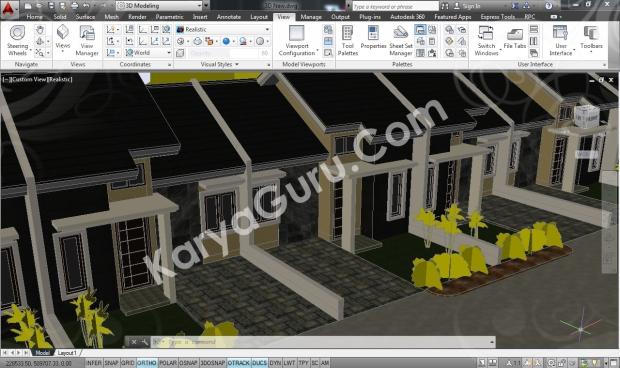 Rumah Minimalis AutoCAD Realistic Camera 3