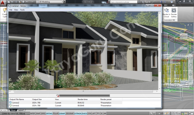 Rumah Minimalis AutoCAD Rendering Camera 2