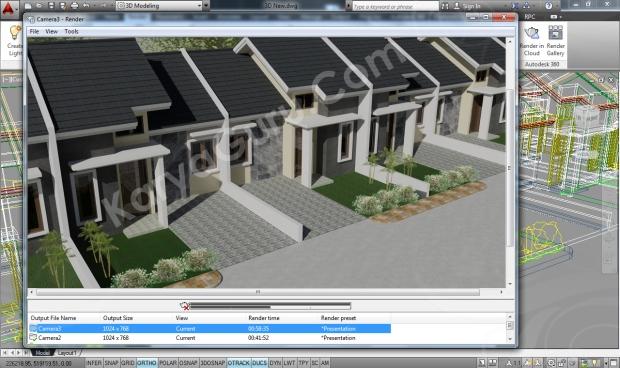 Rumah Minimalis AutoCAD Rendering Camera 3i